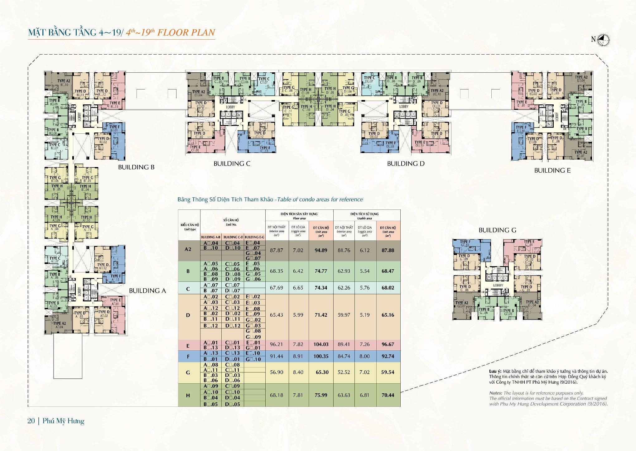 Mặt bằng tầng 4-19 Saigon South Residences