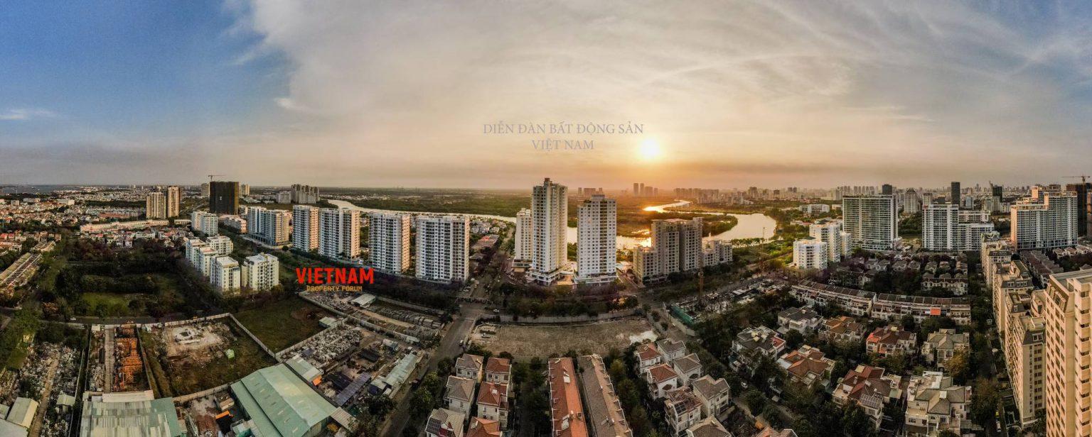 the antonia nhìn từ flycam vào buổi sáng