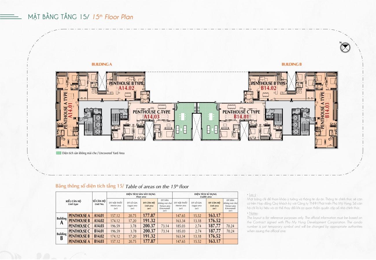 Mặt bằng tầng 15 căn hộ Hưng Phúc Premier