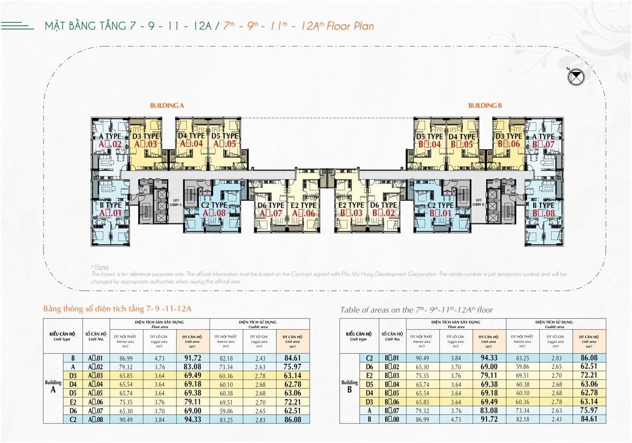 Mặt bằng tầng 7 - 9 - 11 - 12A dự án Hưng Phúc Premier