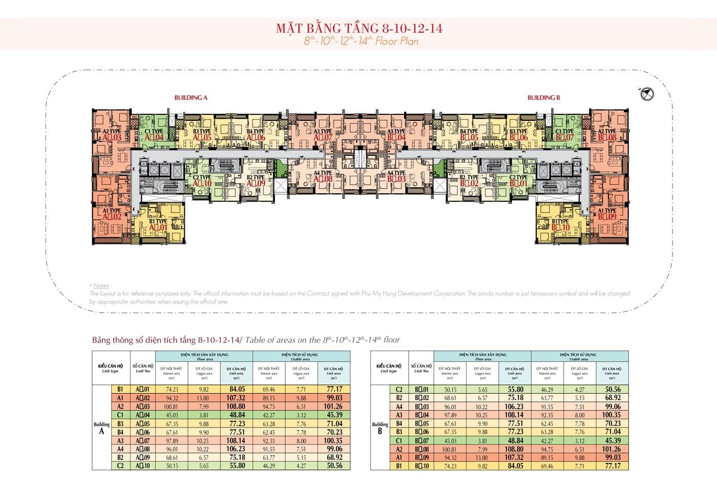 Mặt bằng tầng 8 -10 - 12 -14 The Ascentia Phú Mỹ Hưng