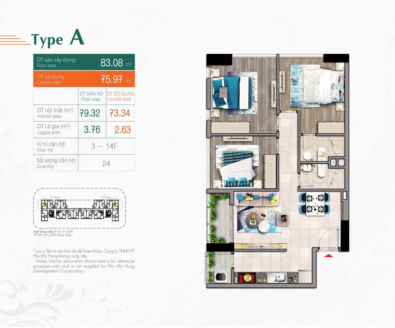 Kiểu căn hộ Type A Hưng Phúc Premier