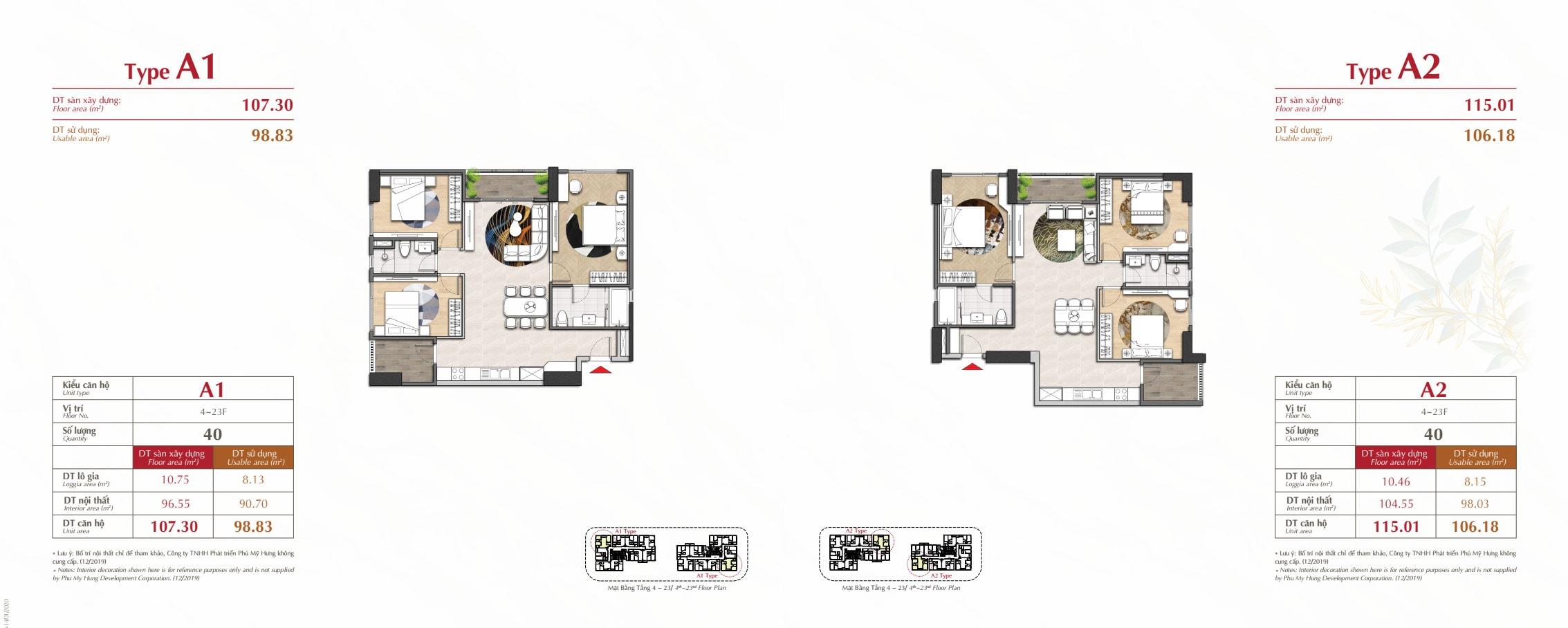 Kiểu nhà type a1 và a2 dự án Antonia Phú Mỹ Hưng