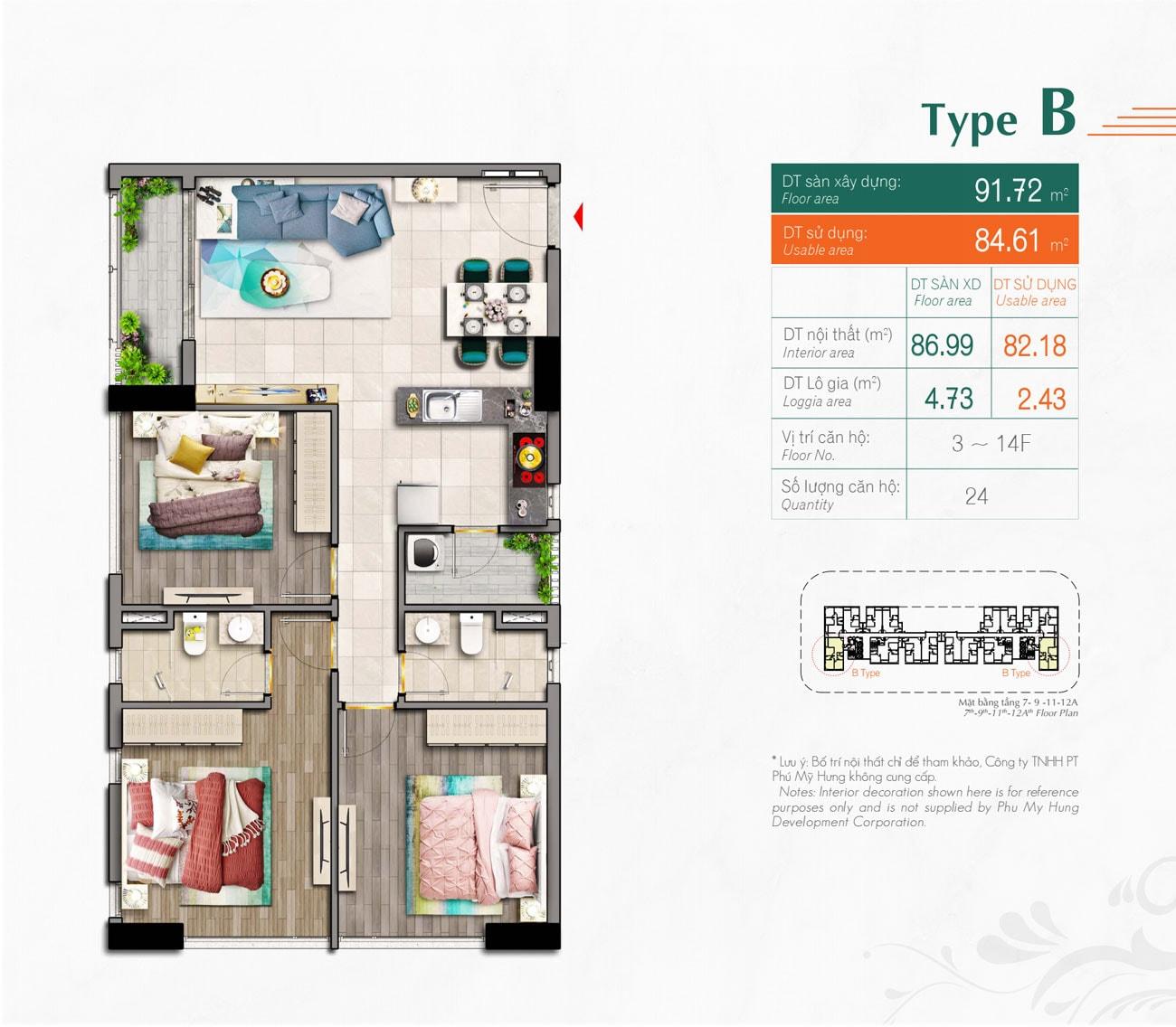 Kiểu căn hộ Type B Hưng Phúc Premier