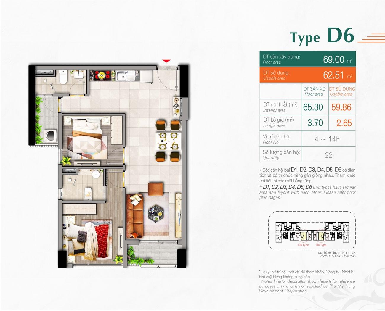 Kiểu căn hộ Type D6 Hưng Phúc Premier