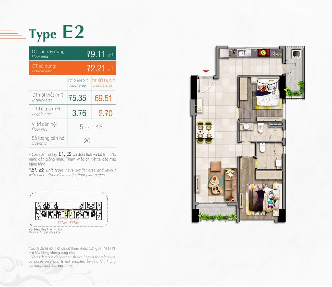 Kiểu căn hộ Type E2 Hưng Phúc Premier