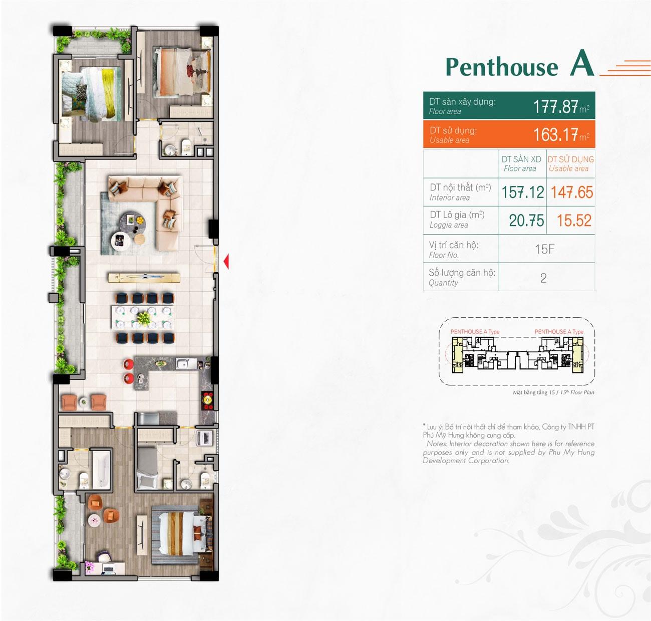 Kiểu căn hộ Type Penthouse A Hưng Phúc Premier