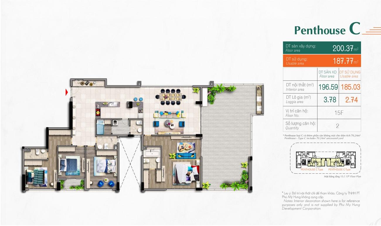 Kiểu căn hộ Type Penthouse C Hưng Phúc Premier