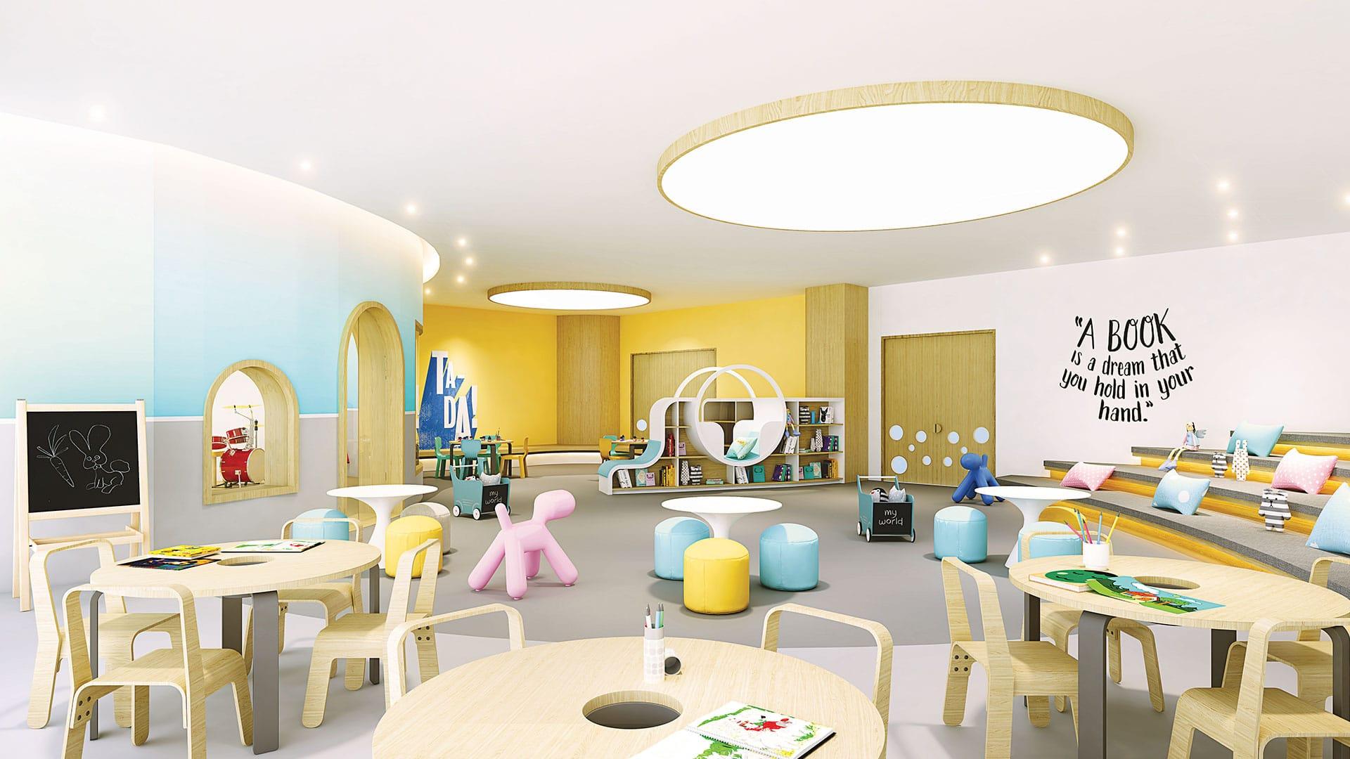 Phòng trẻ em với màu sắc sinh động, vật liệu thân thiện với trẻ em