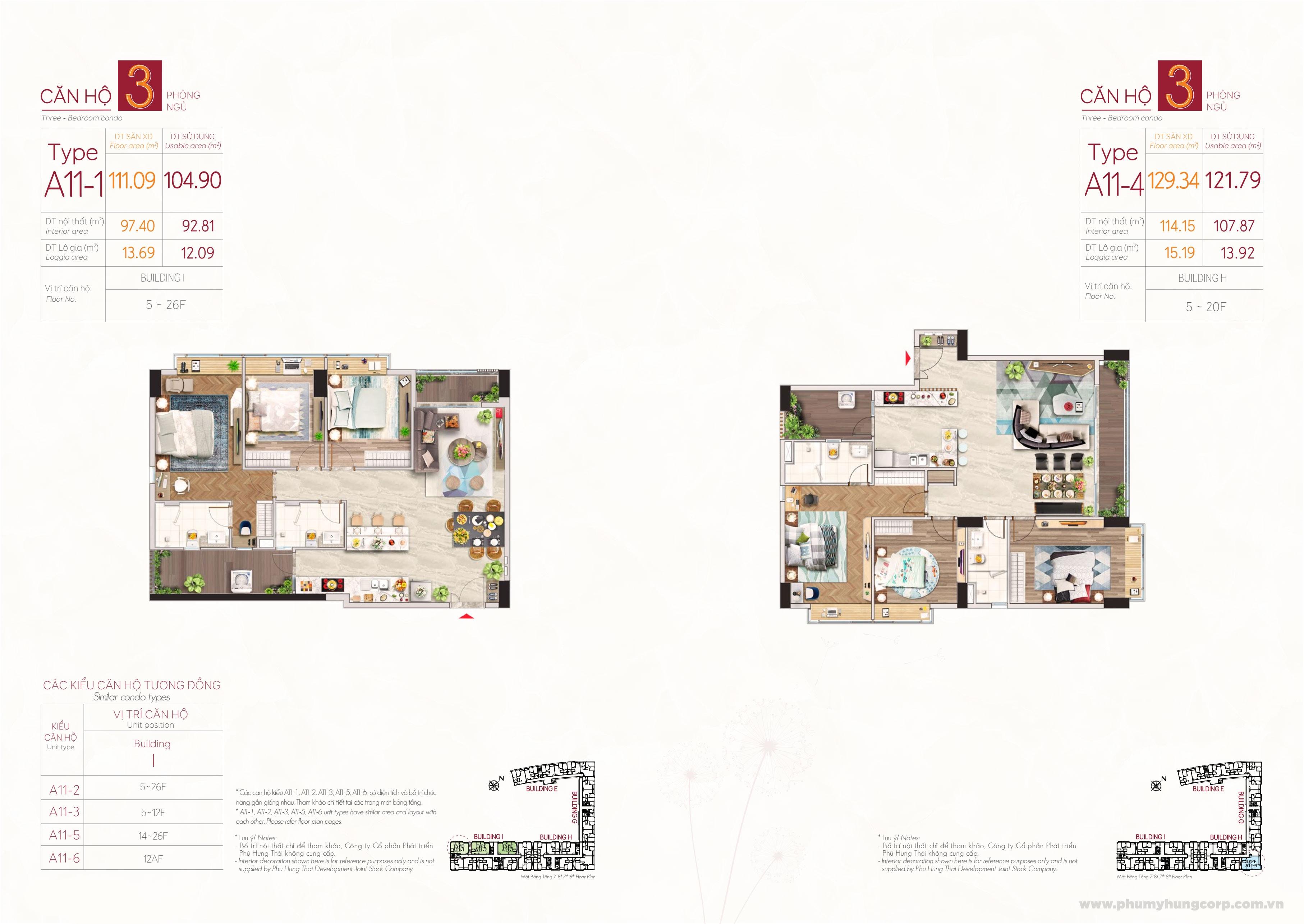 Kiểu căn hộ type A11-1 & type A11-4 M8B The Peak Midtown Phú Mỹ Hưng Quận 7