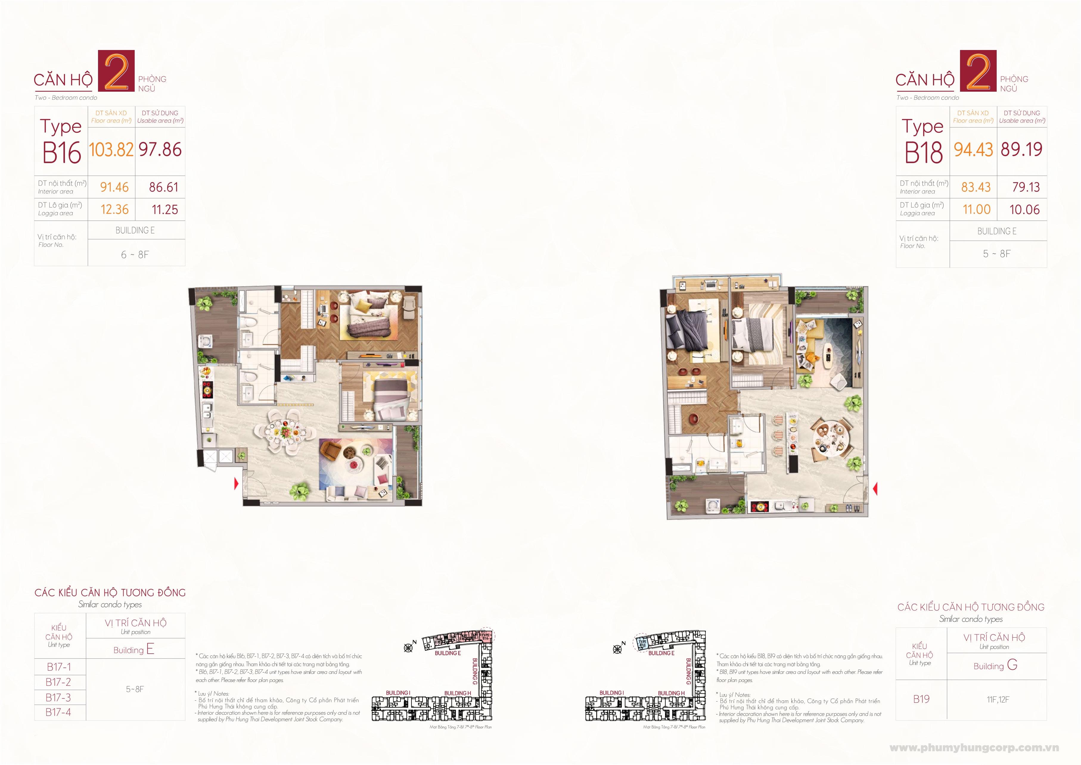 Kiểu căn hộ type B16 & type B18 M8B The Peak Midtown Phú Mỹ Hưng Quận 7