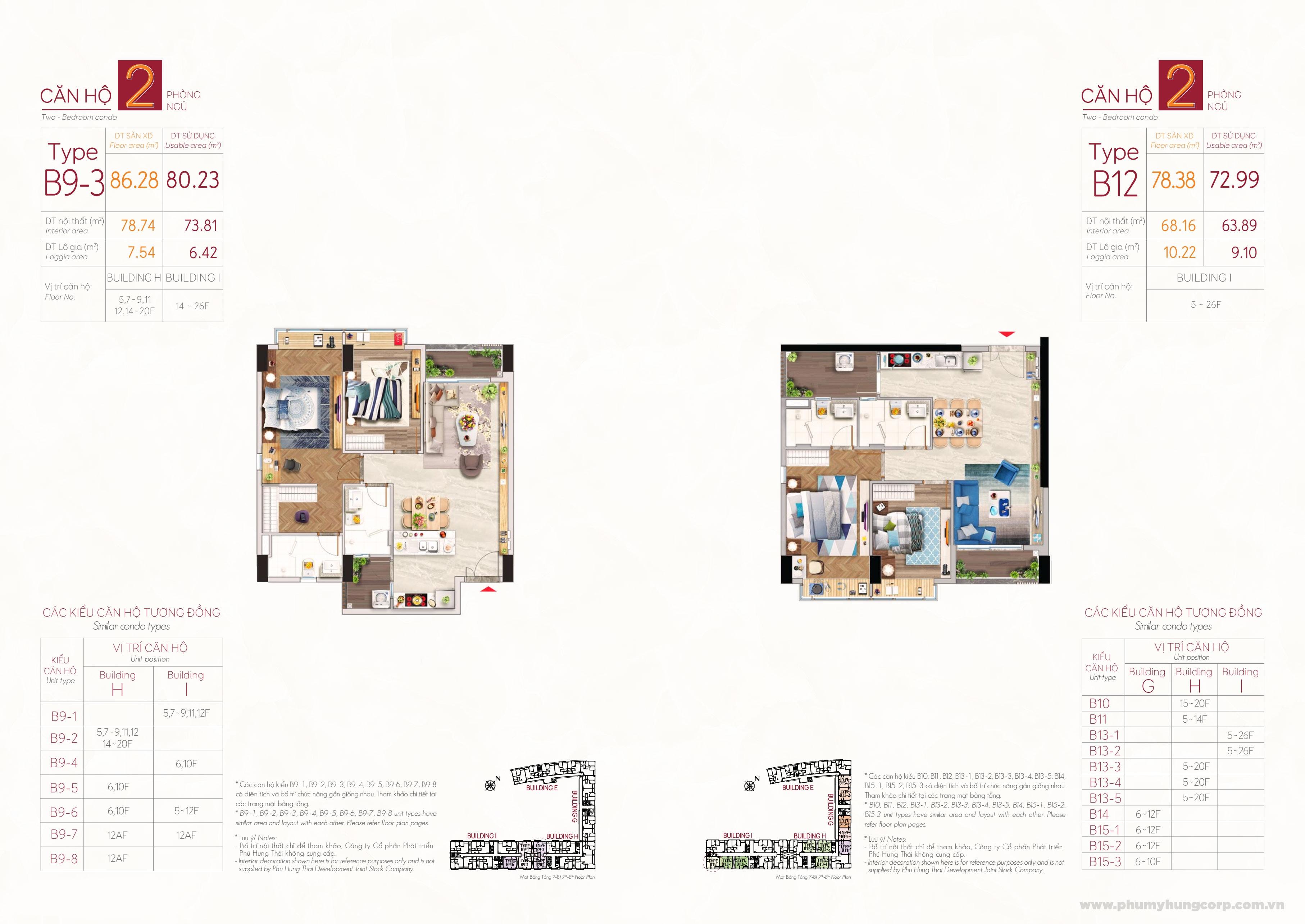 Kiểu căn hộ type B9-3 & type B12 M8B The Peak Midtown Phú Mỹ Hưng Quận 7