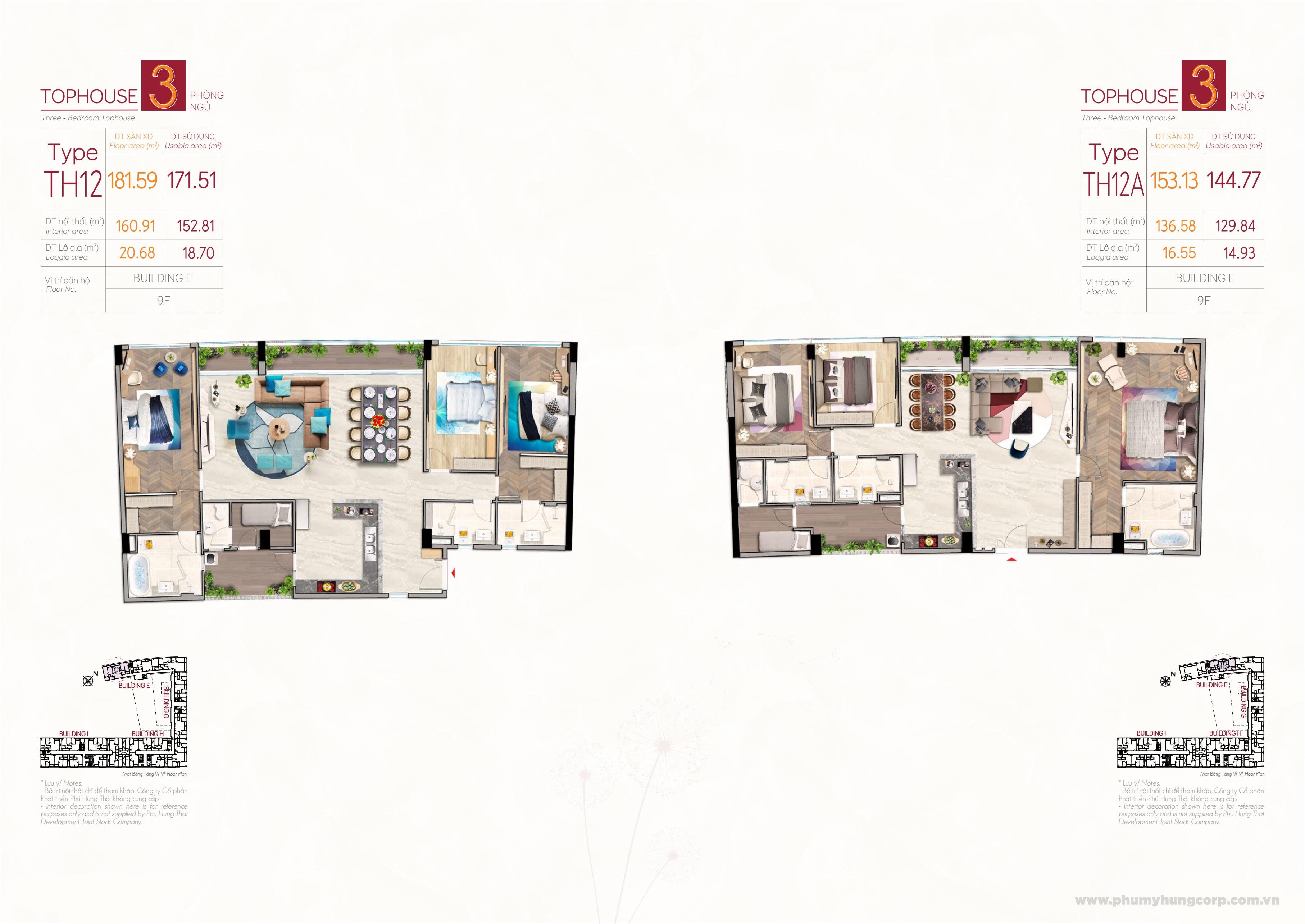 Kiểu căn hộ penthouse type TH12 & type TH12A M8B The Peak Midtown Phú Mỹ Hưng Quận 7