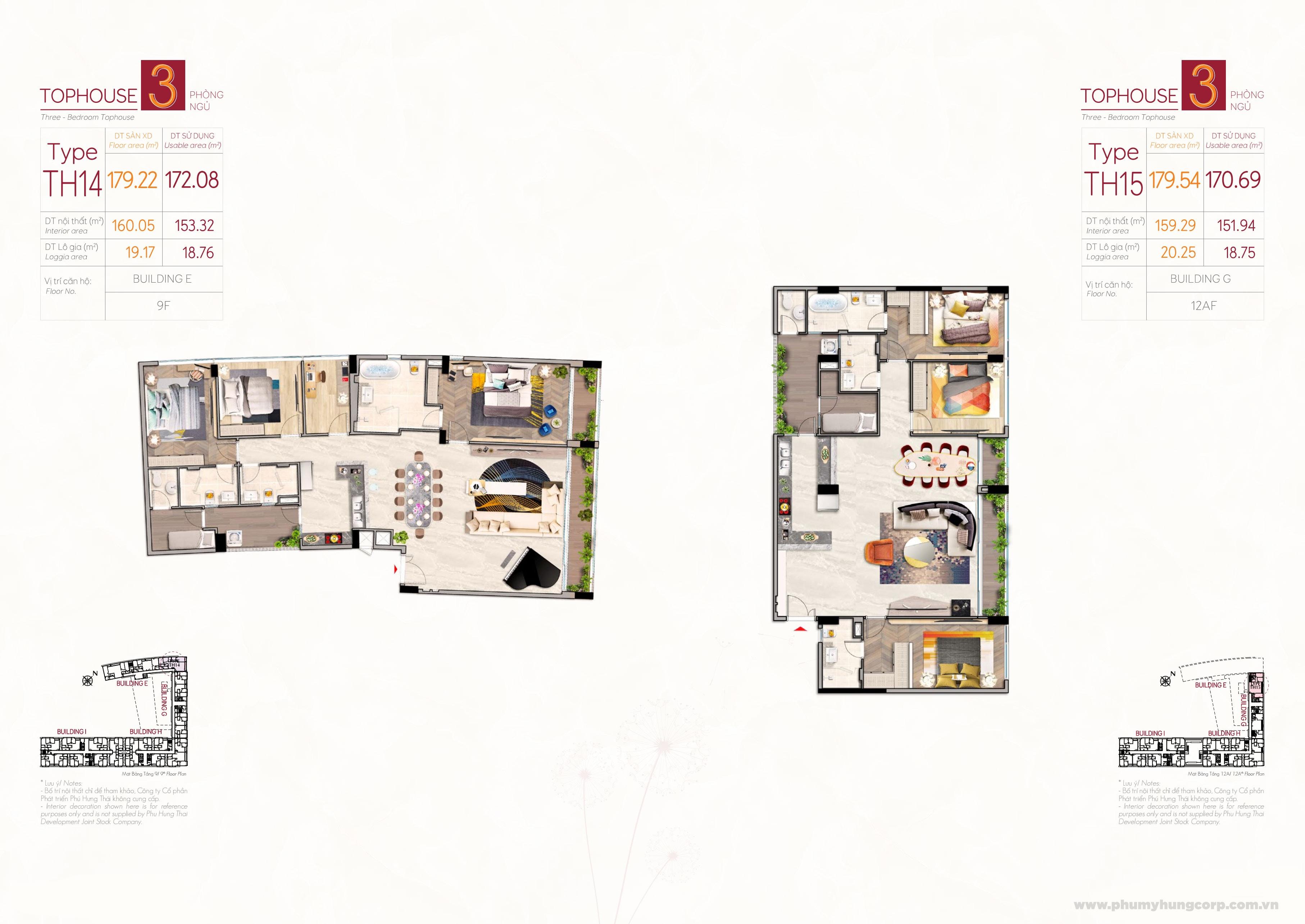 Kiểu căn hộ penthouse type TH14 & type TH15 M8B The Peak Midtown Phú Mỹ Hưng Quận 7