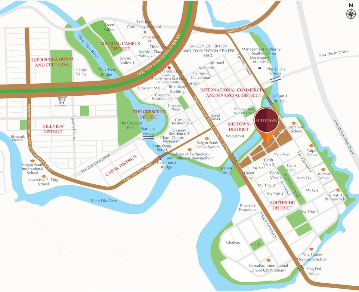 Vị trí dự án Midtown Phú Mỹ Hưng