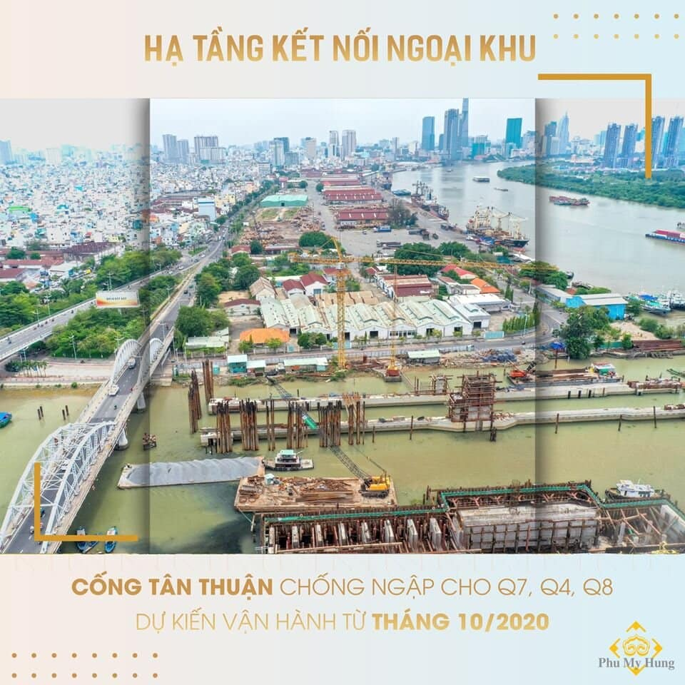 Cống Tân Thuận chống ngập cho Quận 7, Quận 4, Quận 8. Dự kiến vận hành tháng 10/2020
