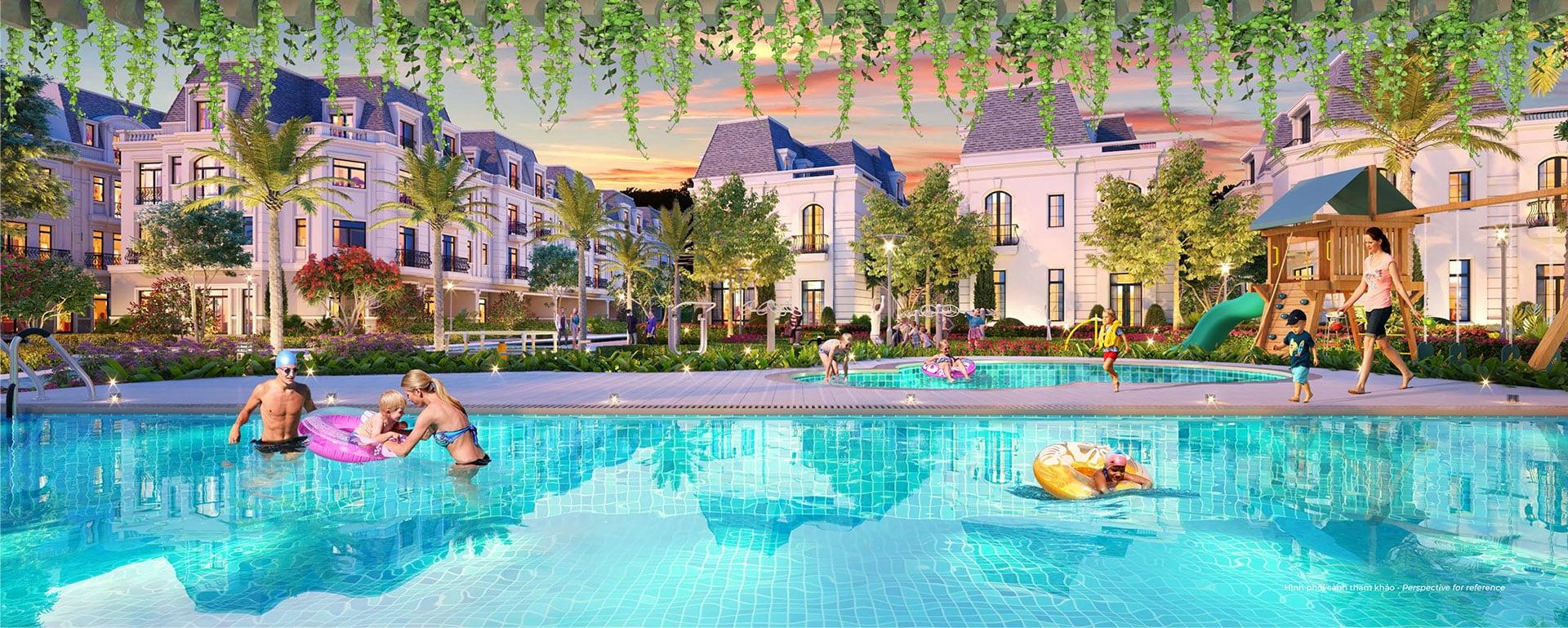 Tiện ích hồ bơi tại Amelie Villa Phú Mỹ Hưng