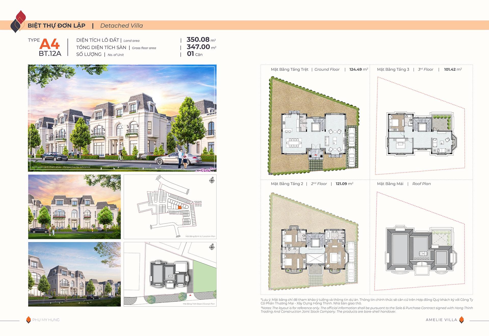 Mặt bằng biệt thự đơn lập Amelie Villa type A4