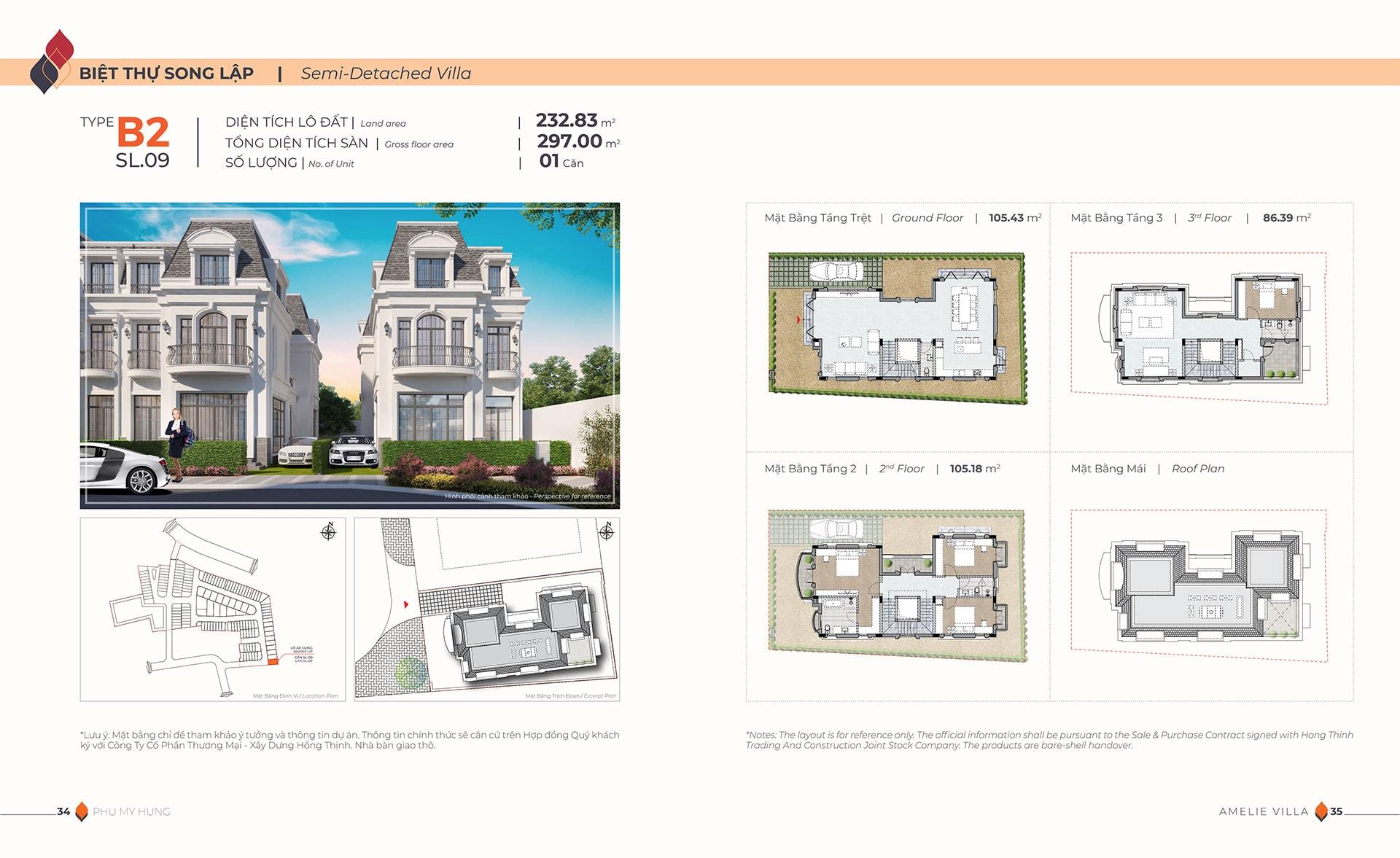 Mặt bằng biệt thự song lập Amelie Villa type B2