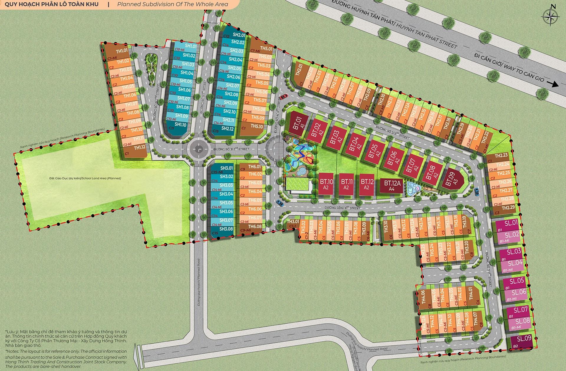 Quy hoạch phân lô từng khu tại Amelie Villa