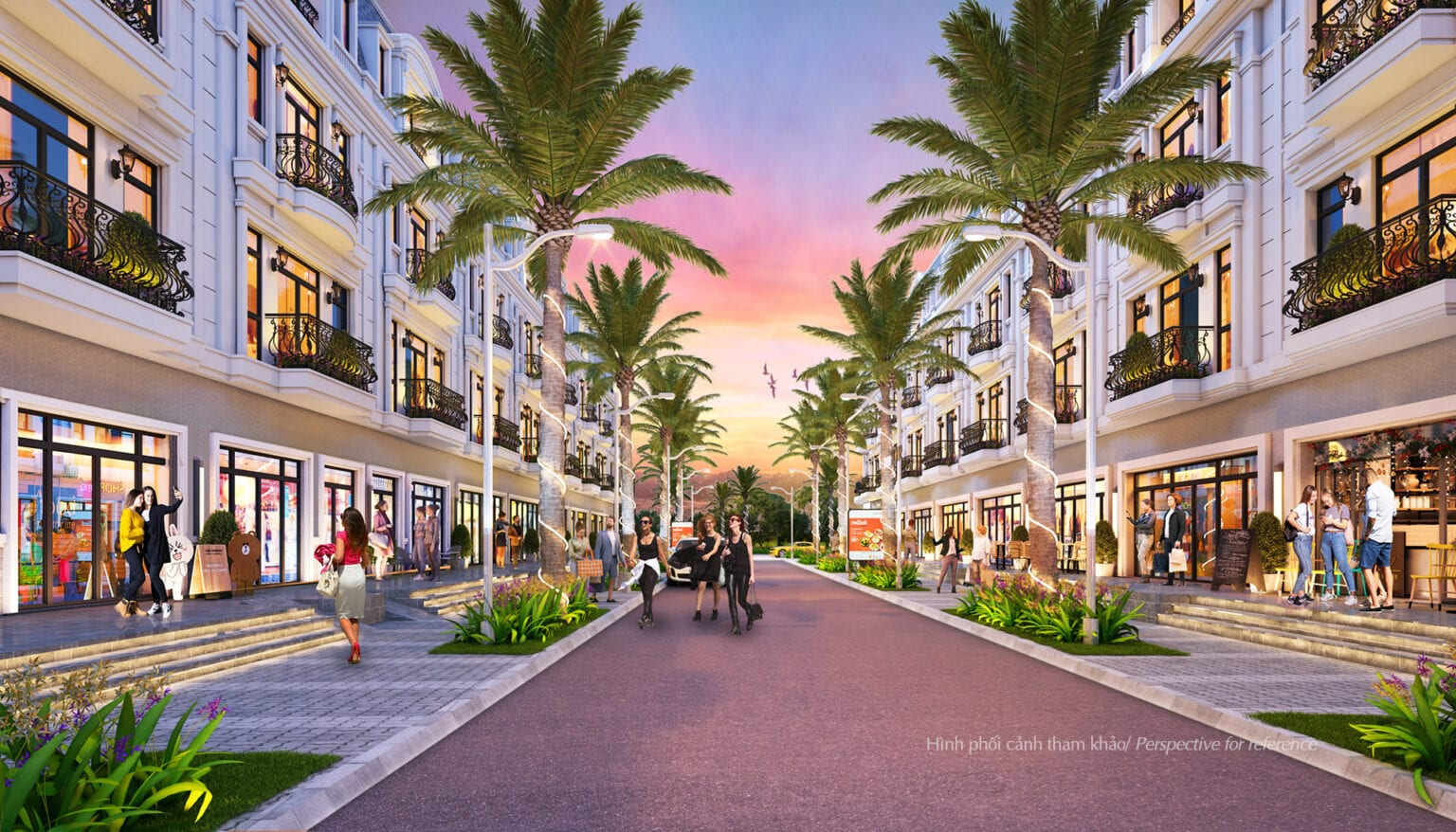 Tuyến đường số 1 sẽ được trồng cây chà là, tạo sự sang trọng, ấn tượng cho Amelie Villa ngay từ lối vào và giúp các căn nhà phố SH ở đây cũng trở lên sang trọng có thể đáp ứng nhu cầu kinh doanh.
