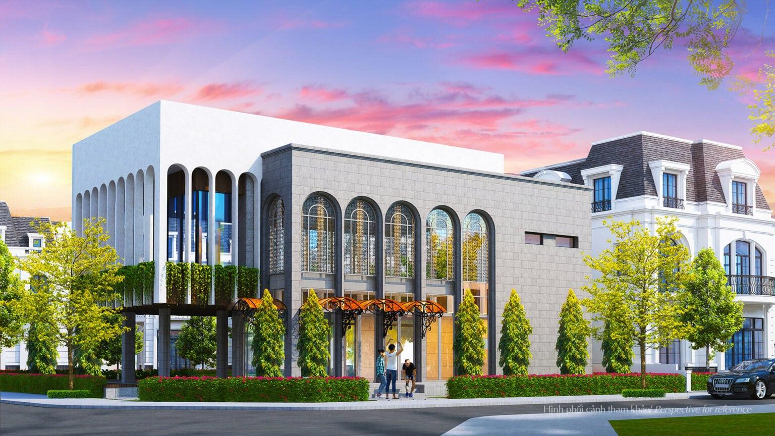 Clubhouse Amelie Villa gồm 2 tầng được bao bọc bởi hệ thống cảnh quan xanh và có thiết kế nổi bật với những mái vòm cong, tương đồng với phong cách Tân Cổ điển Pháp của dự án – Hình phối cảnh tham khảo.