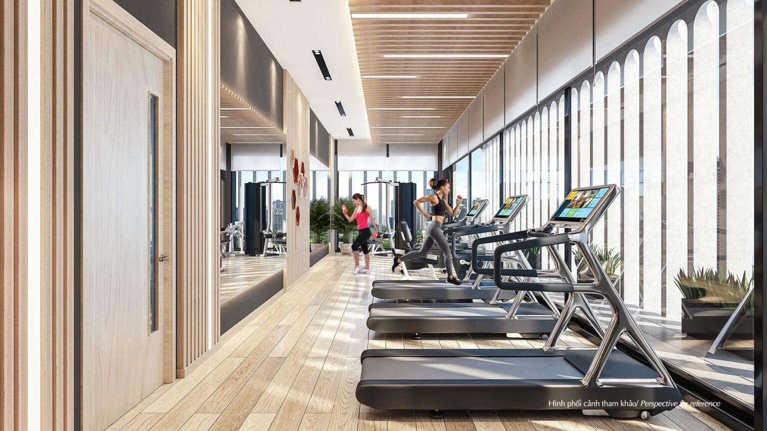 Phòng gym được thiết kế mở với hệ thống cửa kính lớn, tối ưu khả năng đón gió và ánh sáng tự nhiên, kích thích hứng thú tập luyện.