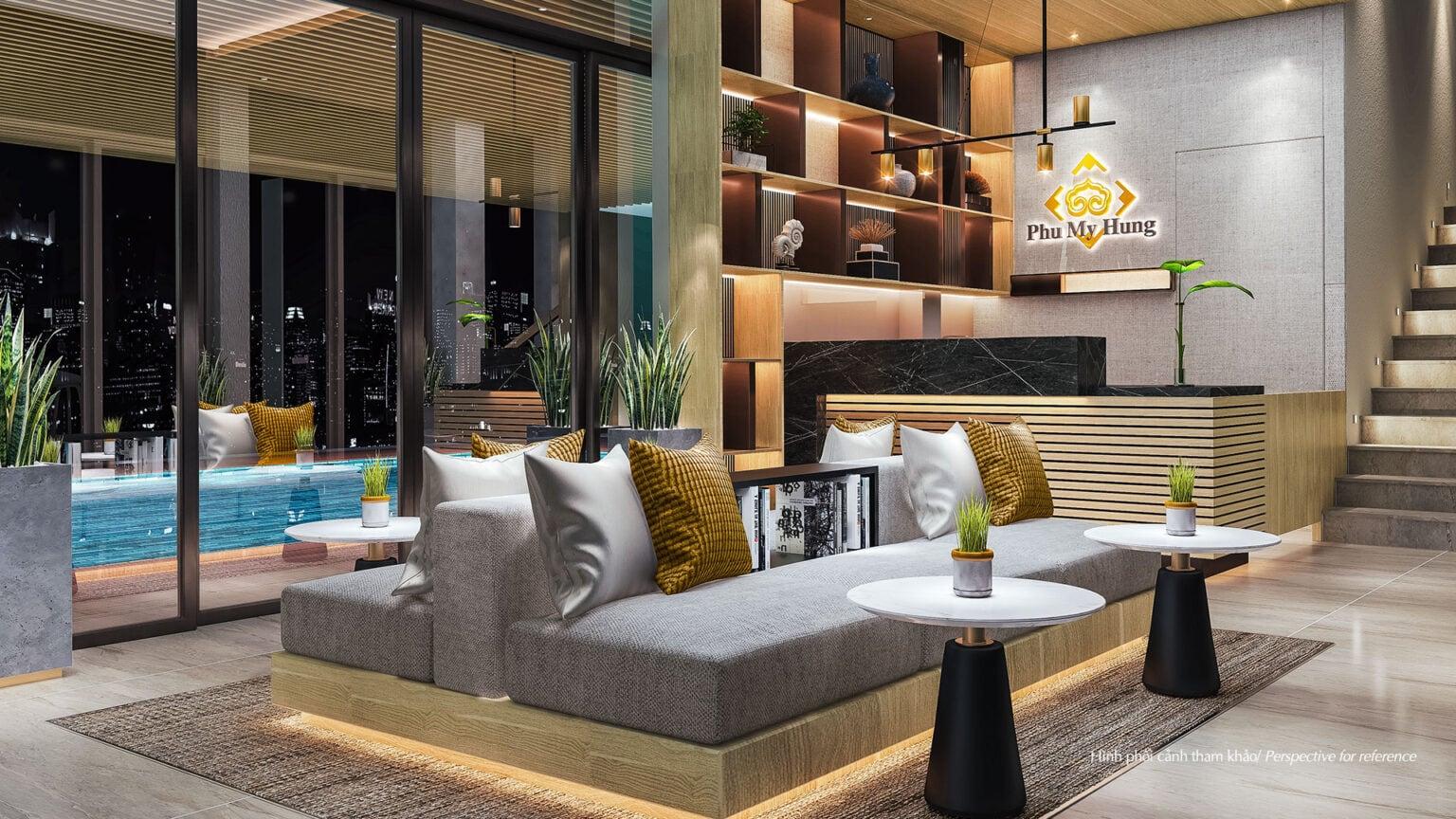 Không gian sang trọng của sảnh Clubhouse Amelie Villa với tông màu gỗ làm chủ đạo. Đây cũng là tông màu được sử dụng xuyên suốt trong thiết kế nhà câu lạc bộ, mang lại cảm giác ấm áp, tự nhiên. Toàn bộ vật liệu được sử dụng đều theo tiêu chí thân thiện với môi trường.