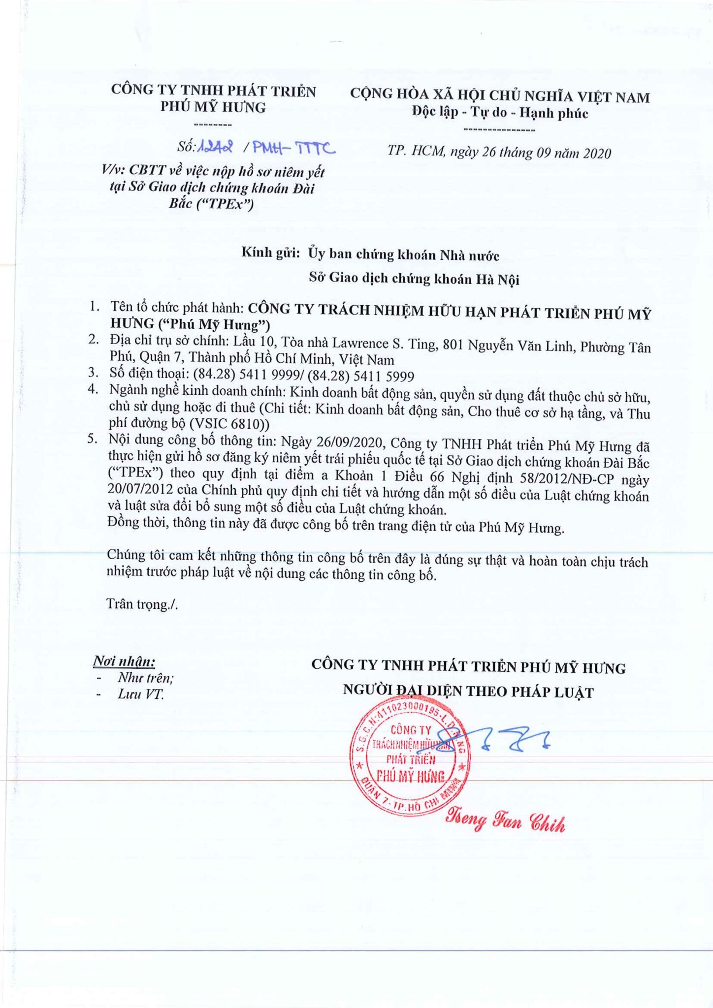 Phú Mỹ Hưng được chấp thuận niêm ước trái phiếu Quốc Tế