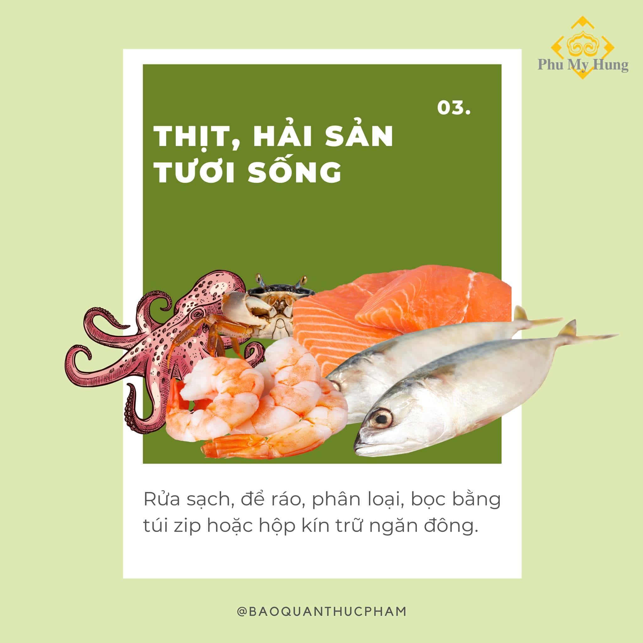 Mẹo hay bảo quản thịt hải sản tươi sống